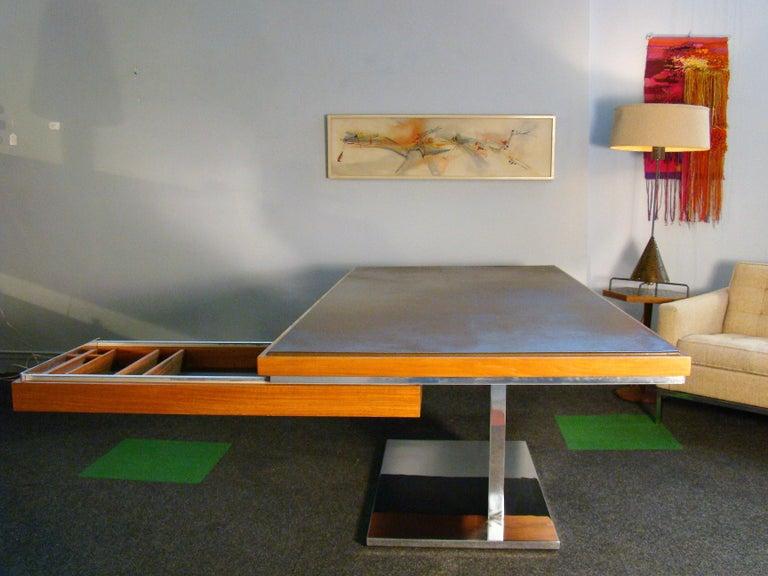 Warren Platner Modernist Executive Desk in Leather, Teak and Steel, 1970s, USA For Sale 5