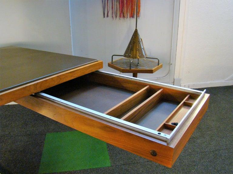 Warren Platner Modernist Executive Desk in Leather, Teak and Steel, 1970s, USA For Sale 6