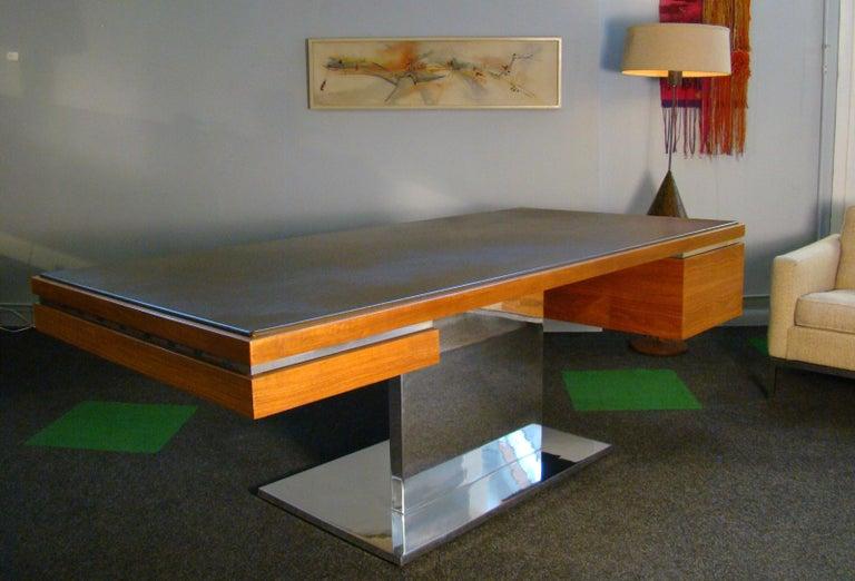 Warren Platner Modernist Executive Desk in Leather, Teak and Steel, 1970s, USA For Sale 8