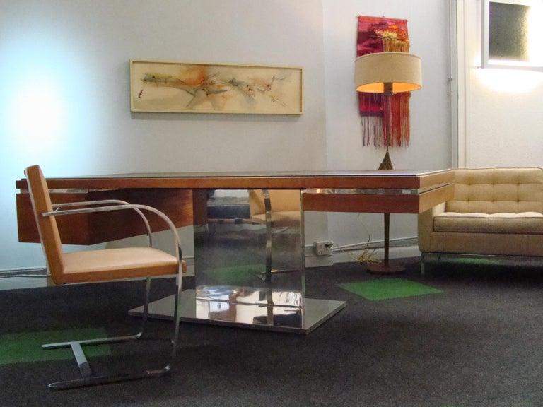 Mid-Century Modern Warren Platner Modernist Executive Desk in Leather, Teak and Steel, 1970s, USA For Sale