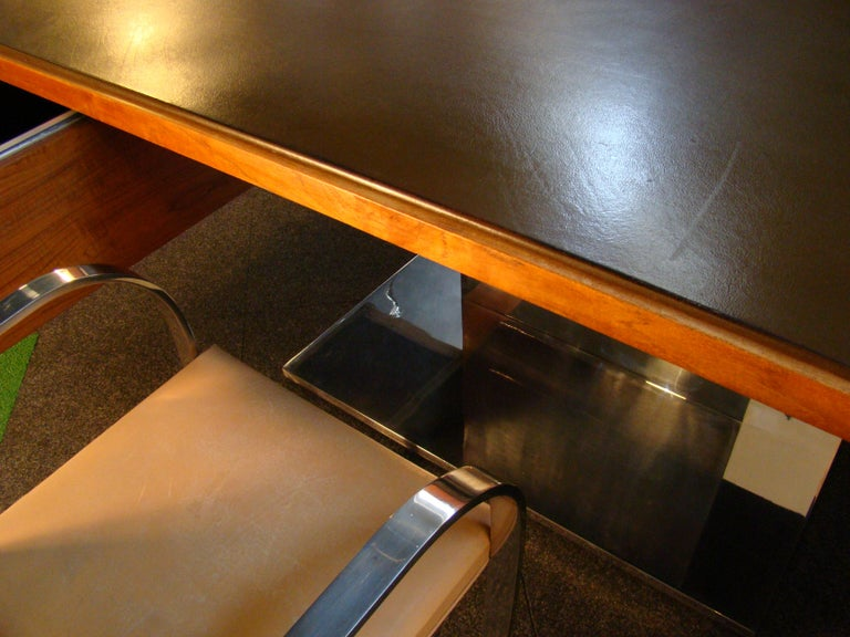 American Warren Platner Modernist Executive Desk in Leather, Teak and Steel, 1970s, USA For Sale