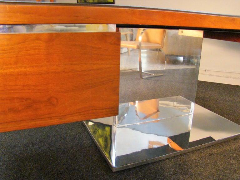 Warren Platner Modernist Executive Desk in Leather, Teak and Steel, 1970s, USA For Sale 1