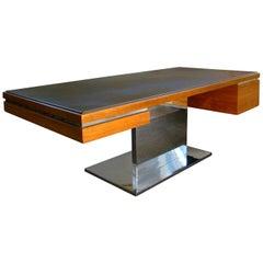 Warren Platner Modernist Executive Desk in Leather, Teak and Steel, 1970s, USA