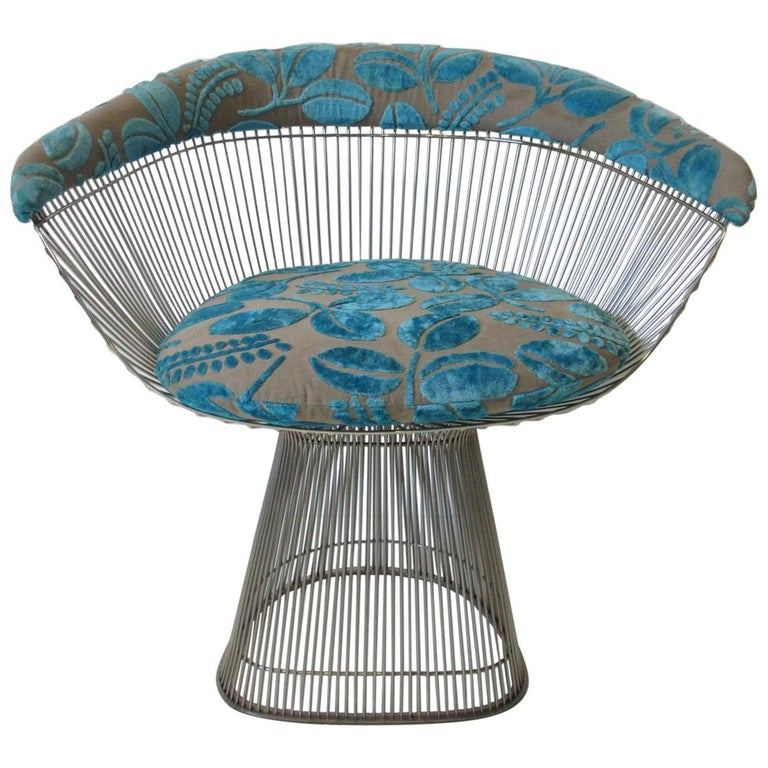 Warren Platner Nickel Chrome Lounge Chair for Knoll For Sale