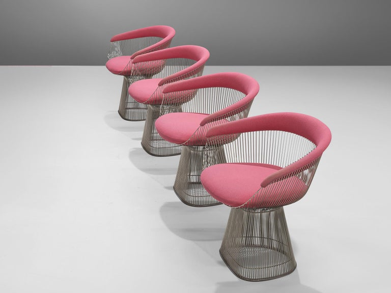 Warren Platner, four lounge chairs, metal and pink fabric, United States, 1966. 