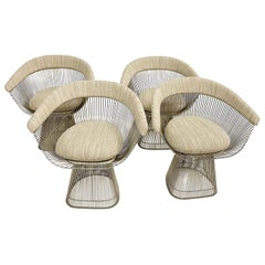 Warren Platner Curved Wire Dining Chairs for Knoll 1960s Sculptural Modernism