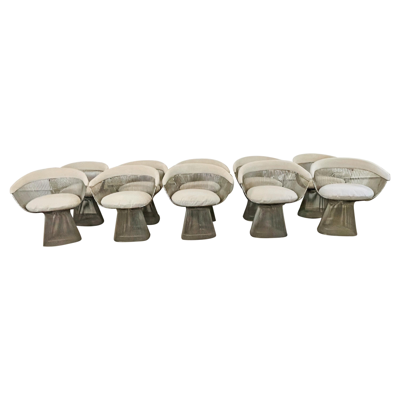 Warren Platner Set of Ten Dining Arm Chairs, Knoll, USA Chrome Plated Steel