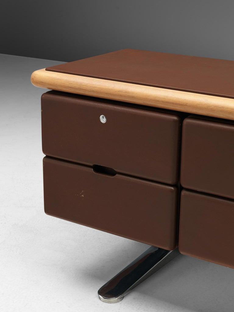 American Warren Platner Sideboard in Original Brown Leather For Sale