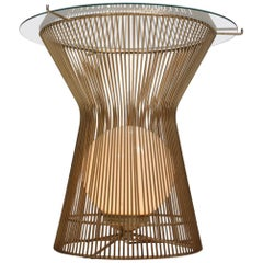 Warren Platner Style Brass Cage Coffee Table with Light by Laurel