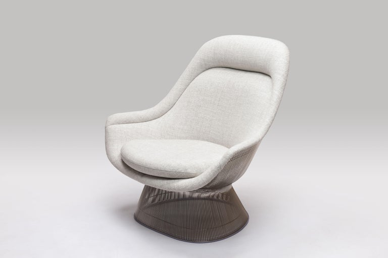 Mid-Century Modern Warren Platner Wire Series Easy Chair in Knoll Fabric by Knoll For Sale