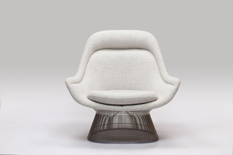 American Warren Platner Wire Series Easy Chair in Knoll Fabric by Knoll For Sale