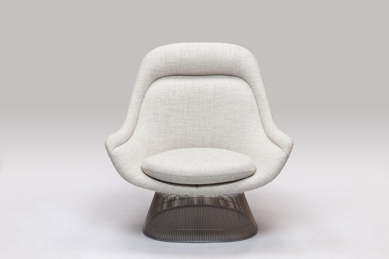 Steel Warren Platner Wire Series Easy Chair in Knoll Fabric by Knoll For Sale