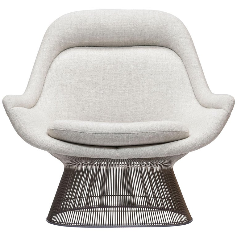 Warren Platner Wire Series Easy Chair in Knoll Fabric by Knoll For Sale