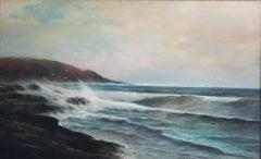 Breakers Along the Rocky Shore, Nantasket Beach, MA, Marine Painting, Circa 1885
