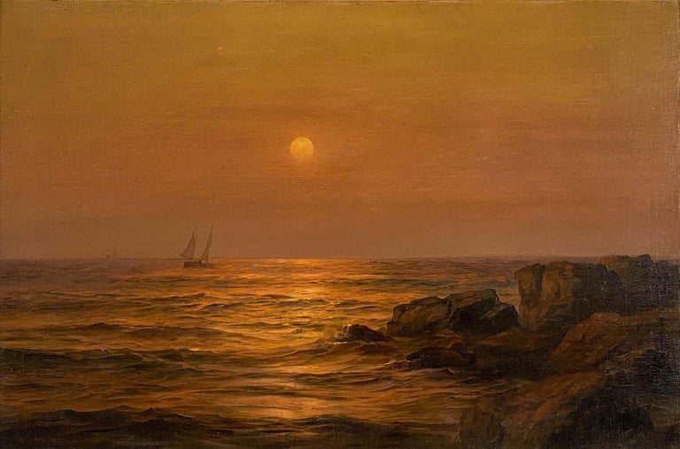 Ship at Sunset - Painting by Warren W. Sheppard