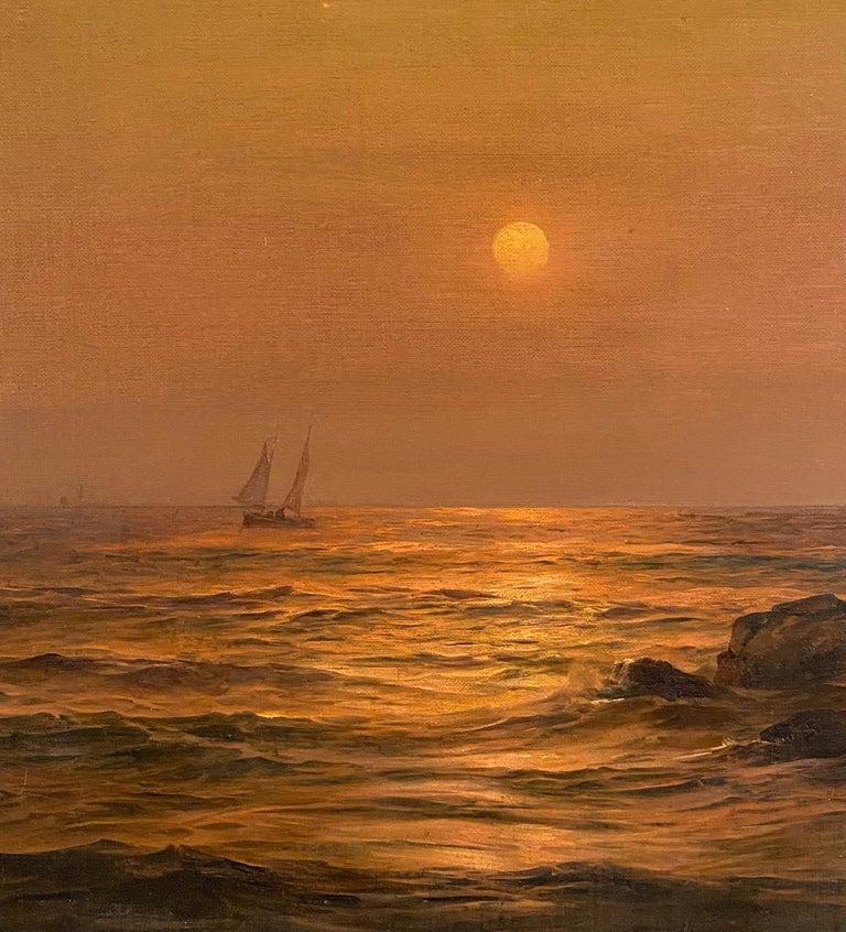 Ship at Sunset - Tonalist Painting by Warren W. Sheppard