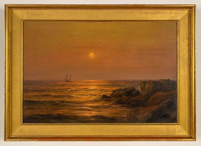 Warren W. Sheppard Landscape Painting - Ship at Sunset