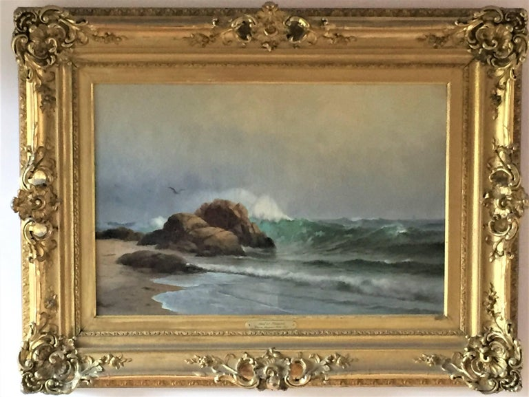 The Surf at Newport (Rhode Island). c. 1906. Oil on canvas. 17 x 24 (framed 26 x 34). Lined; extensive craquelure; otherwise fine condition. Housed in an exceptional Louis XV (revival Rococo) style gold leaf frame. Signed lower left.   Newport is a,