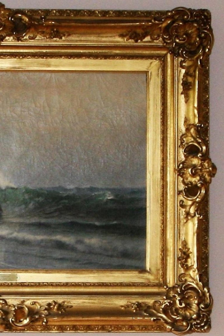 The Surf at Newport - Brown Landscape Painting by Warren W. Sheppard