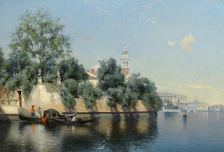 """""""Venice, 1906,"""" Italy, Warren W. Sheppard, Realist, Oil, Gondola, Canal - Painting by Warren W. Sheppard"""