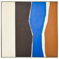 Warren Woodward Modernist Abstract Serigraph Canvas Color Block Cubism Art 1970s