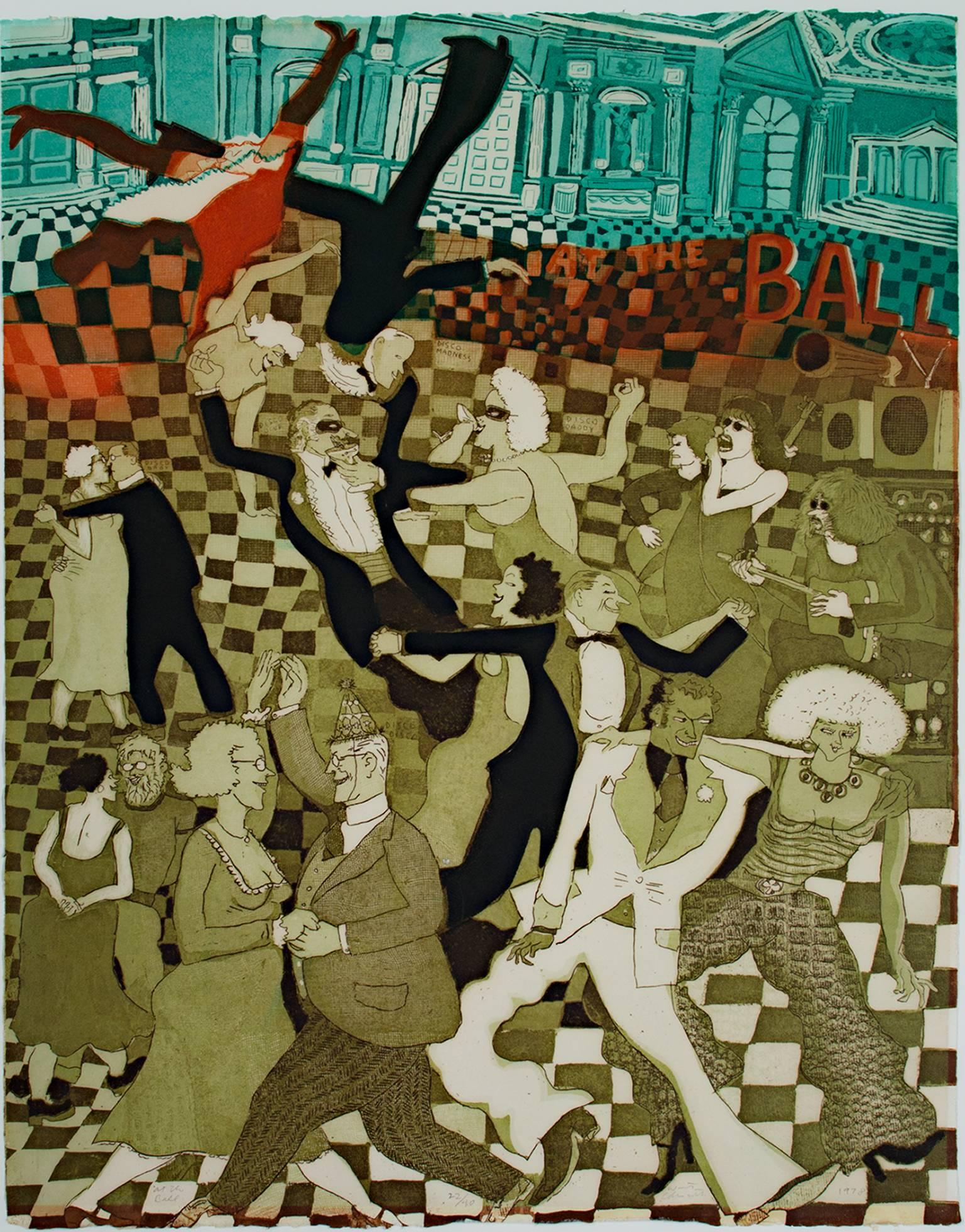 """""""At The Ball,"""" Original Color Etching signed by Warrington Colescott"""