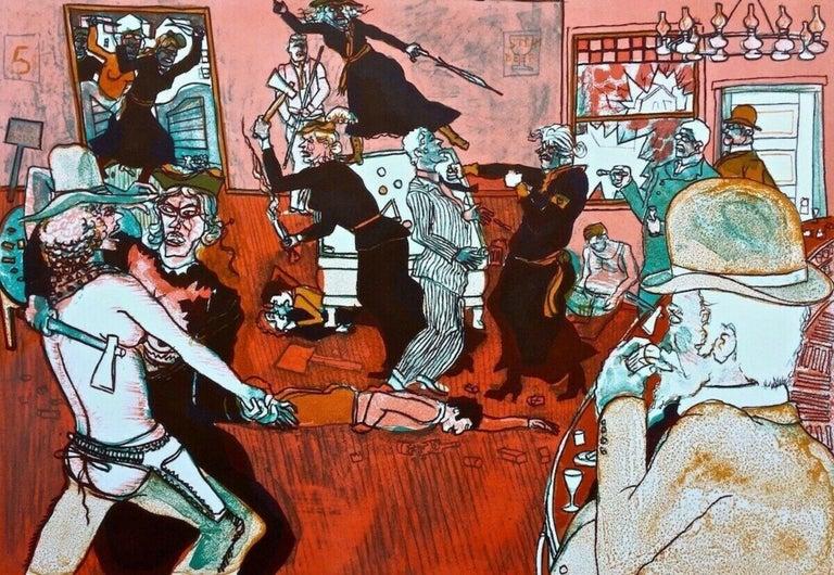 Fracas at Calamity's Place 1969 Limited Edition Lithograph Warrington Colescott - American Realist Print by Warrington Colescott