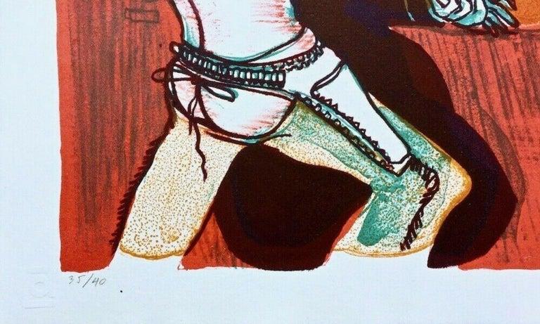 Fracas at Calamity's Place 1969 Limited Edition Lithograph Warrington Colescott - Beige Figurative Print by Warrington Colescott