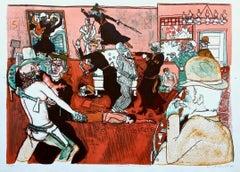 Fracas at Calamity's Place 1969 Limited Edition Lithograph Warrington Colescott