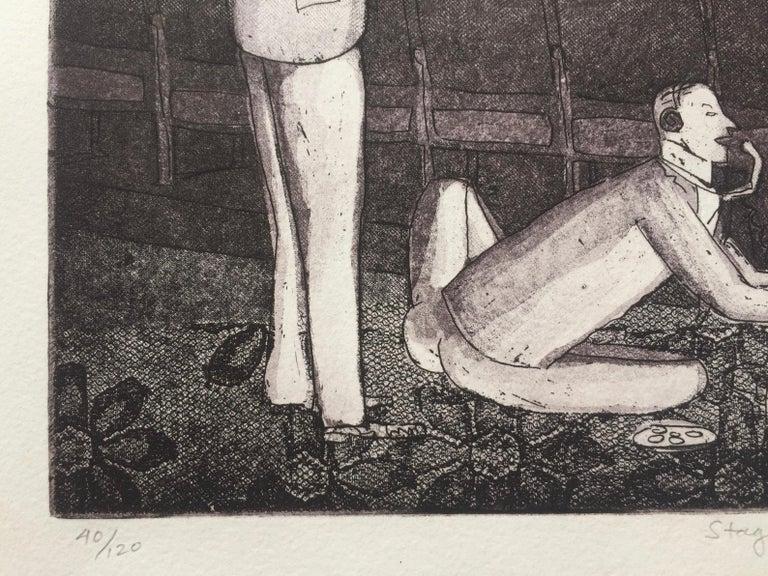 STAG NIGHT SMOKER AT KEY BISCAYNE - Black Figurative Print by Warrington Colescott