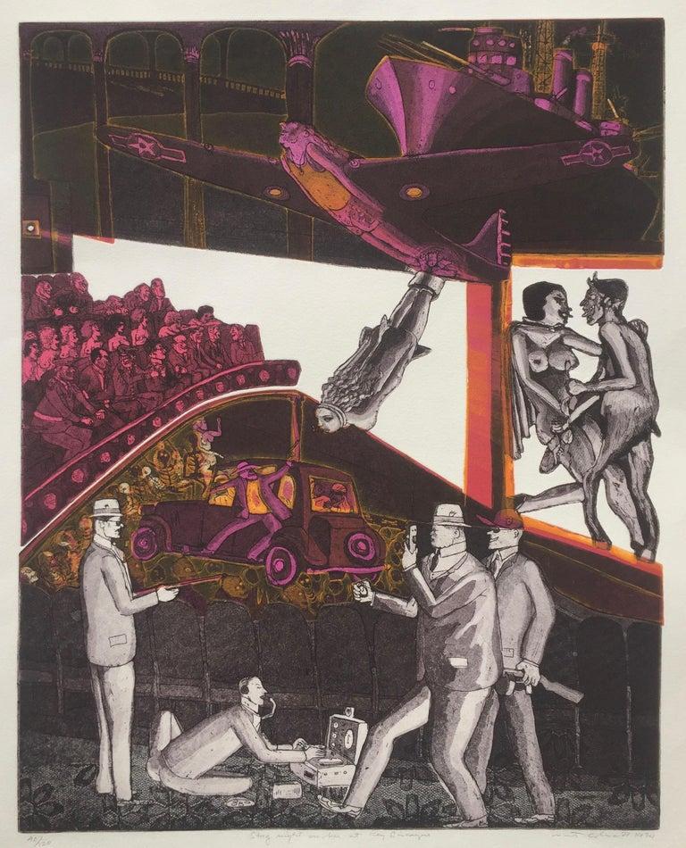 Warrington Colescott Figurative Print - STAG NIGHT SMOKER AT KEY BISCAYNE