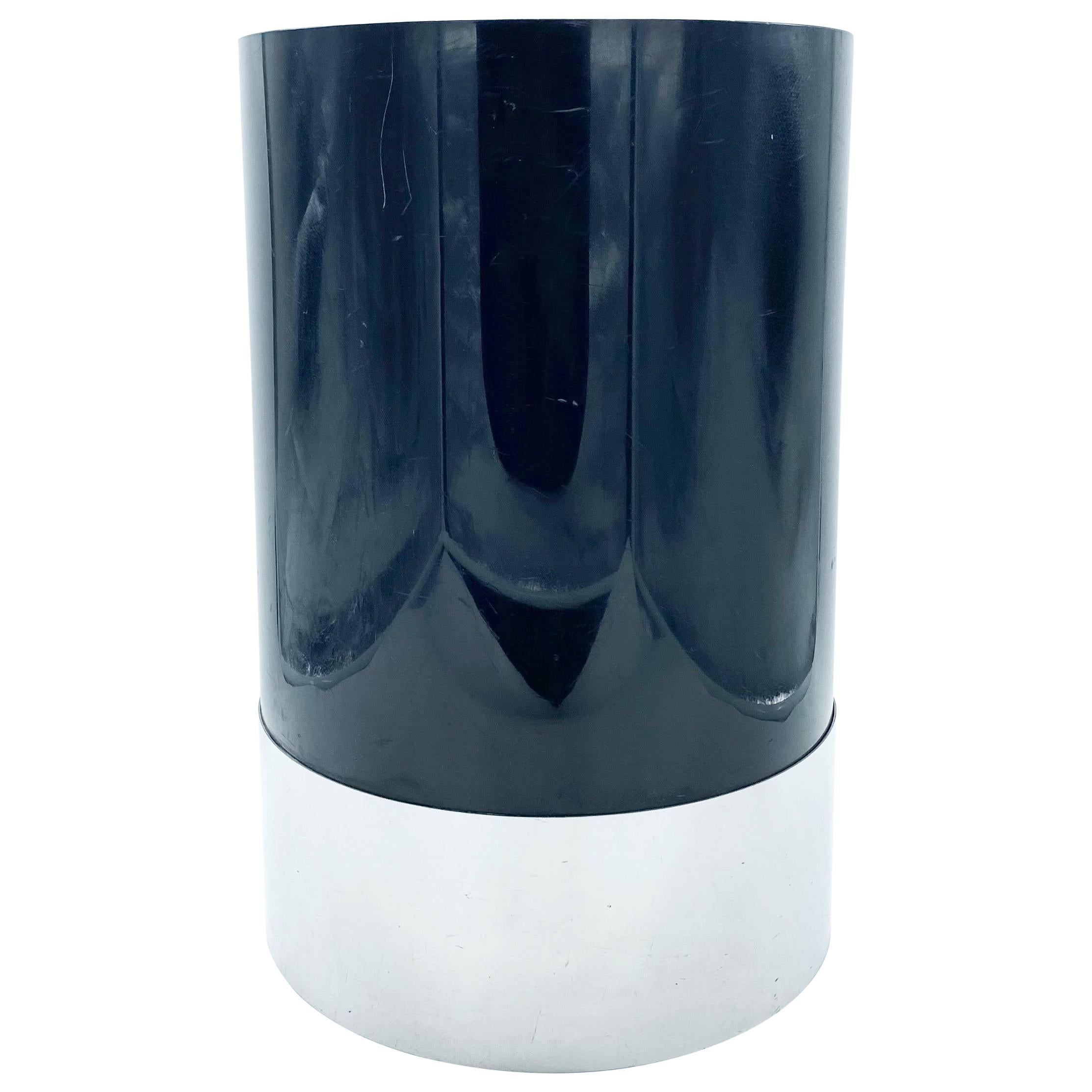 Kartell Black and Chrome Waste Paper Basket, Italy, 1970s