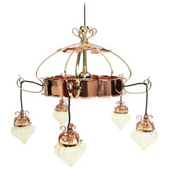 W.A.S Benson, an Arts & Crafts Copper & Brass Chandelier with 5 Vaseline Shades