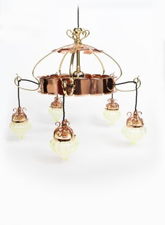 W.A.S Benson. An Arts & Crafts copper & brass chandelier with 5 Vaseline shades