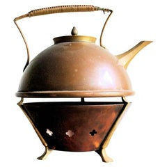 W.A.S. Benson Teapot and Warmer English Aesthetic Movement