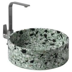 Wash Basin / Vessel Sink 'HUI' Made of Terrazzo 'Green Mint'