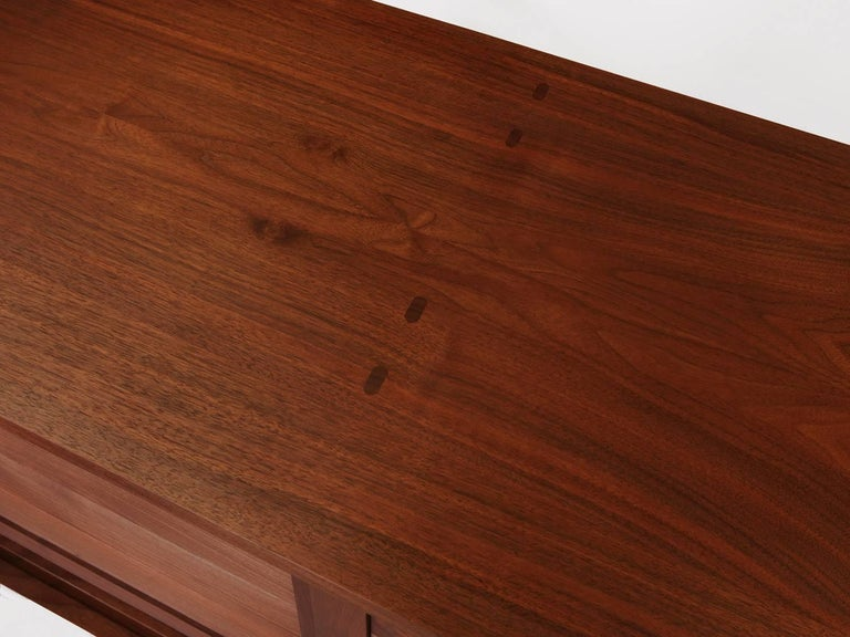 Washburn Sliding 4-Door Mid-Century Style Walnut Credenza by New York Heartwoods In New Condition For Sale In Kingston, NY