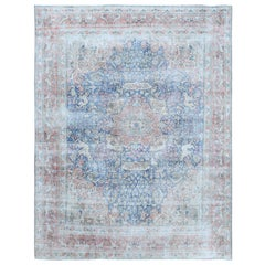 Washed Out Old Blue Persian Kerman Sheared Down Pile Wool Hand Knotted Rug