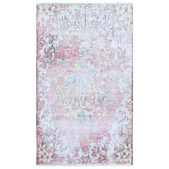 Washed Out Old Red Persian Kerman Distressed Clean Hand Knotted Pure Wool Rug
