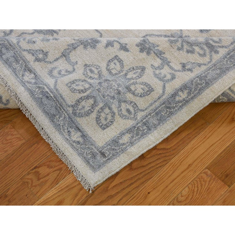 Contemporary Washed Out Peshawar Hand Knotted Pure Wool Oriental Rug For Sale