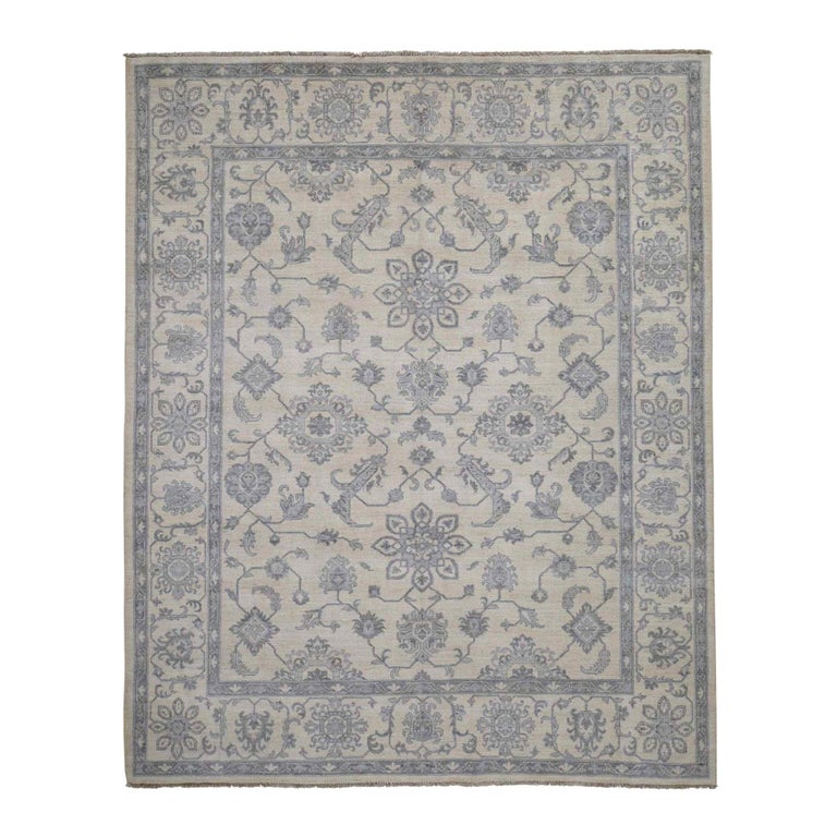 Washed Out Peshawar Hand Knotted Pure Wool Oriental Rug For Sale