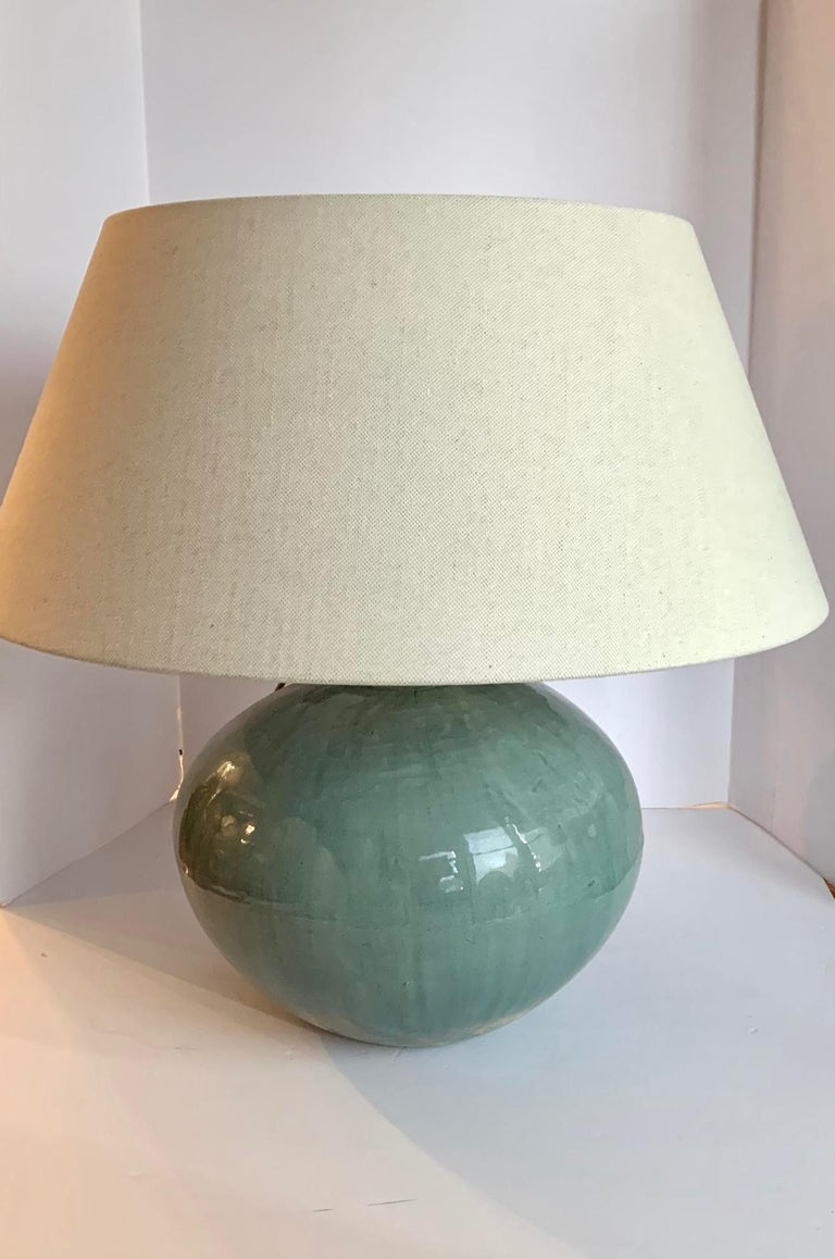 Chinese Washed Turquoise Round Base Pair Lamps, China, Contemporary For Sale