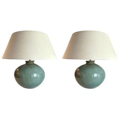 Washed Turquoise Round Base Pair Lamps, China, Contemporary