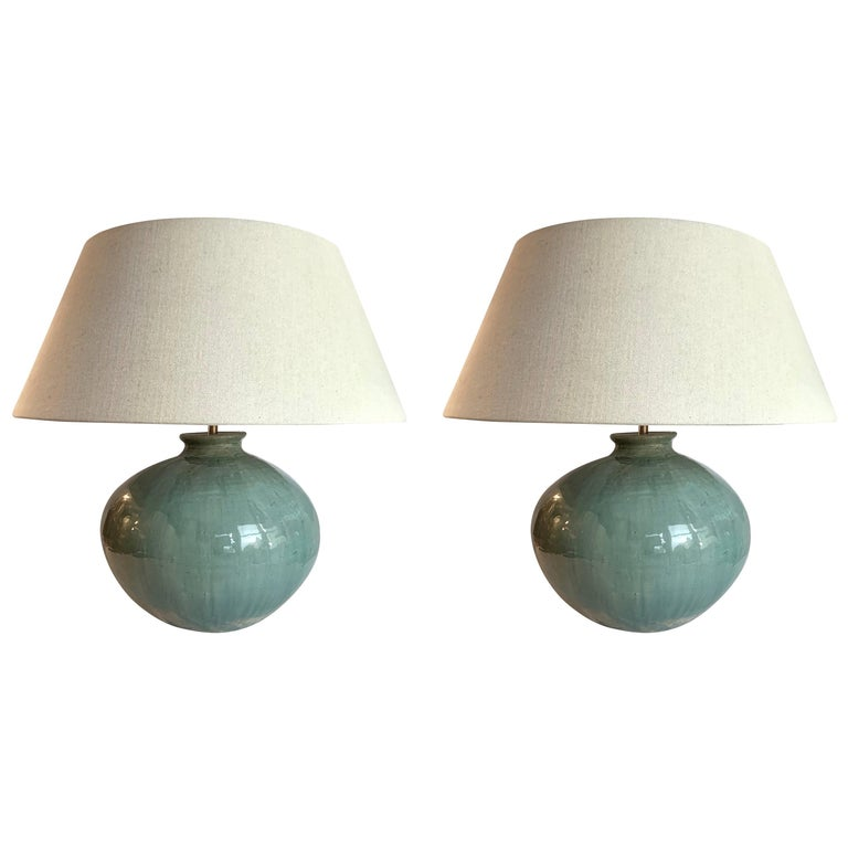 Washed Turquoise Round Base Pair Lamps, China, Contemporary For Sale