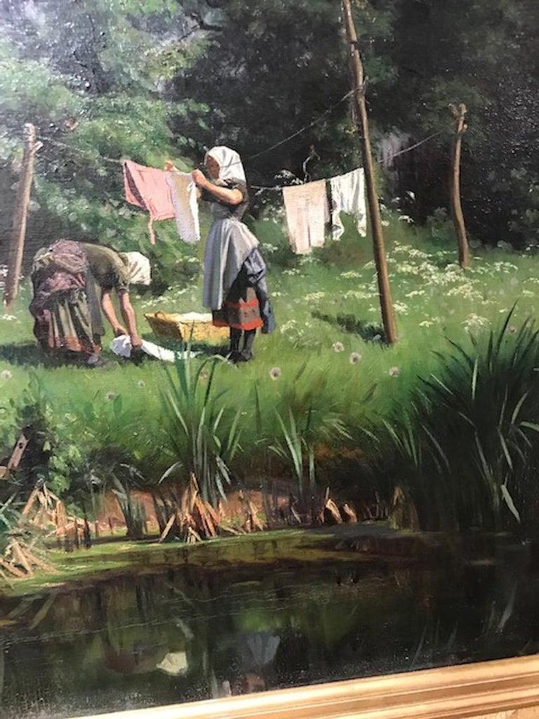 Danish Washerwomen Painting by Viggo Pedersen For Sale