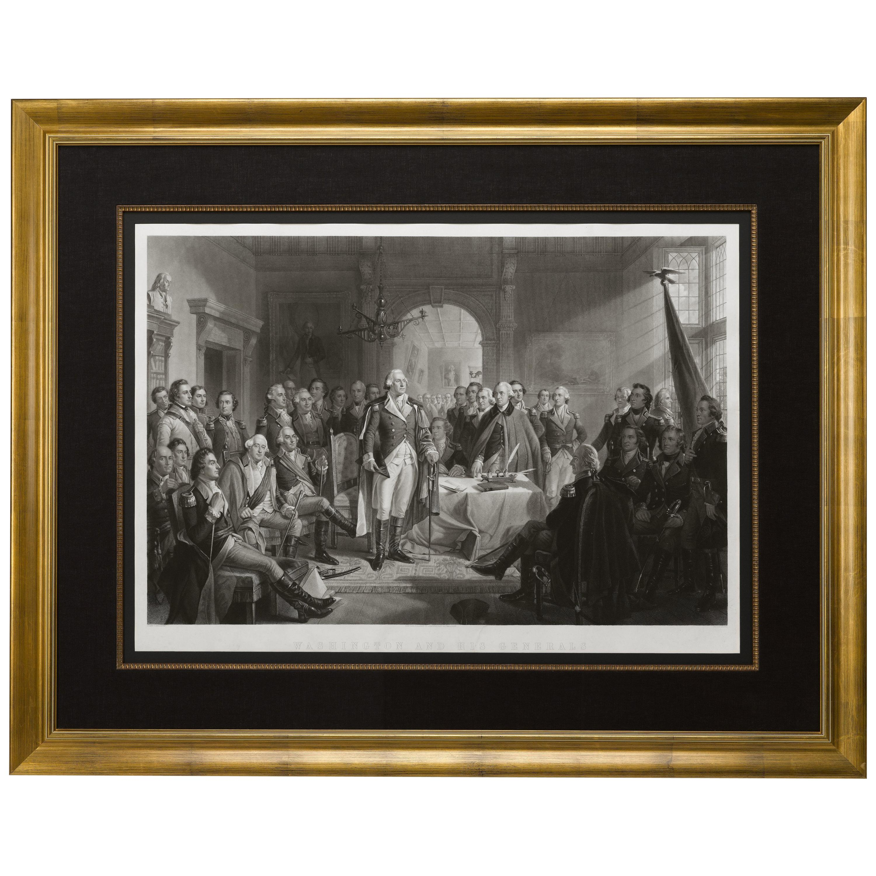"""""""Washington and His Generals"""" Antique Engraving by A.H. Ritchie, circa 1870"""