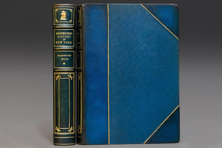 """2 Volumes. """"Van Twiller Edition"""" with illustrations by Edward W. Kemble. Bound in 3/4 blue Morocco, cloth boards, top edges gilt, raised bands, gilt panels, marbled Endpapers. Published: New York: G.P. Putnam's Sons 1894.   Dimensions: H 9"""", D 6"""