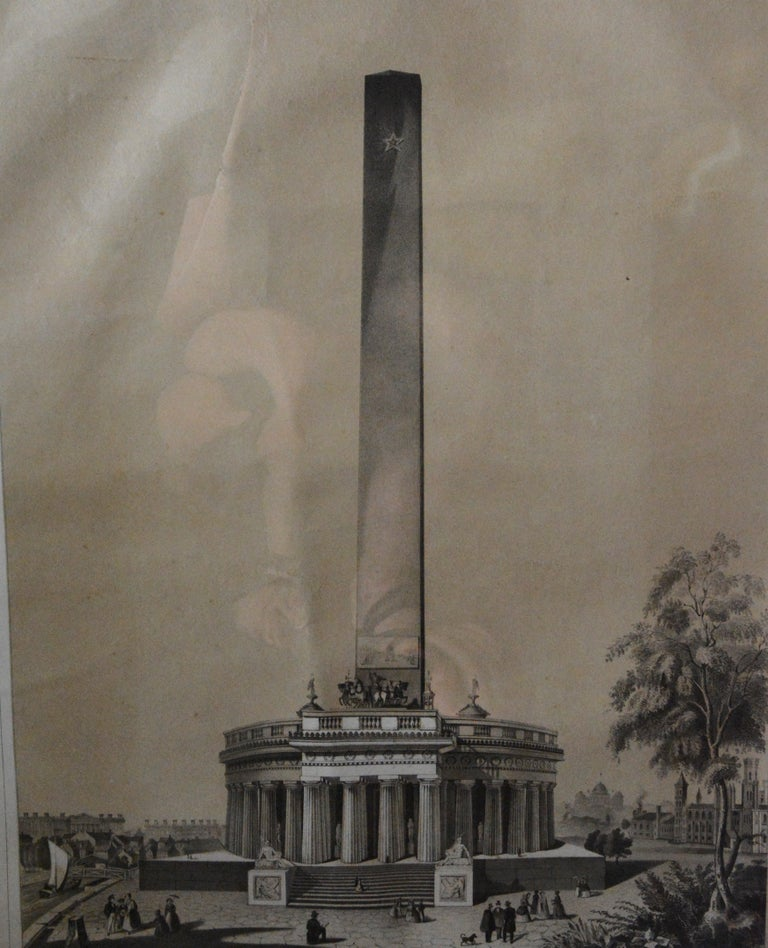This is a mid-19th century lithograph of the Washington Monument. These were made to raise money to build the monument. The inscription below the lithograph reads