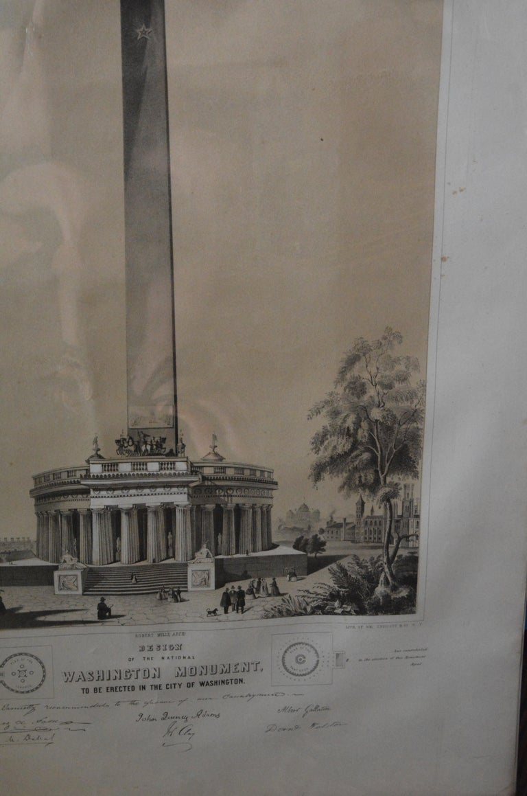 19th Century Washington Monument Broadside Lithograph For Sale