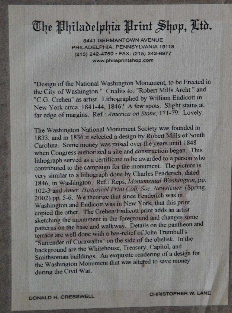 Washington Monument Broadside Lithograph For Sale 1
